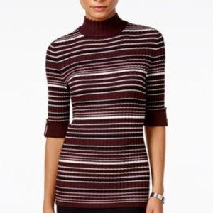 Style&Co Petite Striped Mock-Neck Sweater Plum